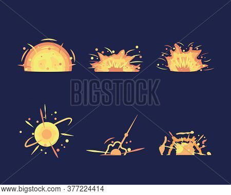 Key Frames Of Bomb Explosion. Bomb Explosion And Cartoon Bang Burst Dynamite. Explosion Animation In