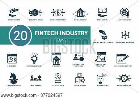 Fintech Industry Icon Set. Collection Contain Robo Advisor, Peer-to-peer, Fintech Innovation, Digita