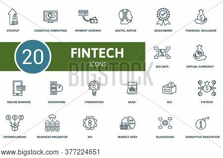 Fintech Icon Set. Collection Contain Virtual Currency, Hackathon, Crowdfunding, Cognitive Computing