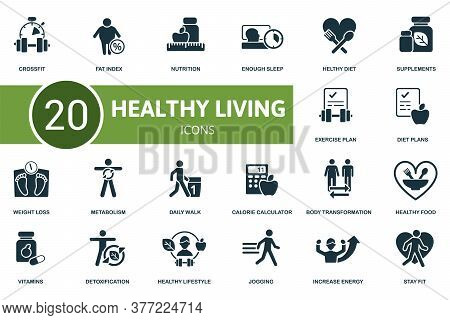 Healthy Lifestyle Icon Set. Collection Contain Weight Loss, Healthy Diet, Healthy Food, Calorie Calc