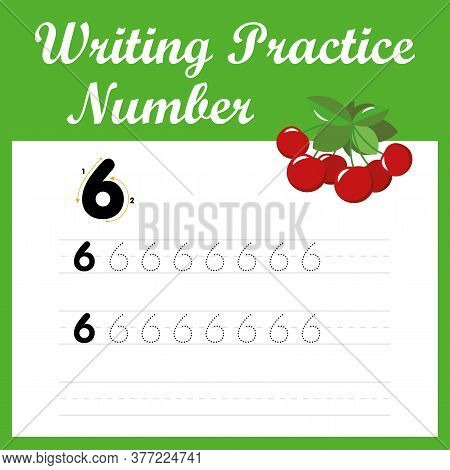 Trace Number Six. Digital Practice Of Writing English - Number 6. A Mathematical Game For Children O