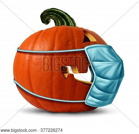 Pandemic During Halloween As A Jack O Lantern Pumpkin Wearing A Medical Face Mask As An Autumn Symbo