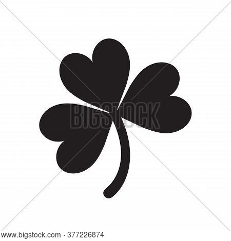 Lucky Shamrock Three Leaf Clover Silhouette For St. Patricks Day. Vector Illustration Isolated On Wh