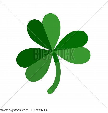 Lucky Green Shamrock Three Leaf Clover For St. Patricks Day. Vector Illustration Isolated On White B