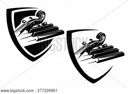 Piano Keys And Cello Neck In Heraldic Shield - Classical Music Black And White Vector Emblem Design