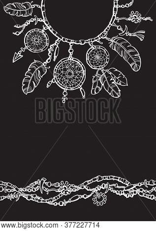 Dream Catcher. Boho Style Design For Collar T Shirt. Seamless Border Made From Beads.