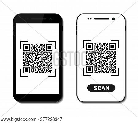 Qr Code Icon On Screen Mobile. Barcode, Qrcode Scanning In App Of Smartphone. Scan Price Of Payment