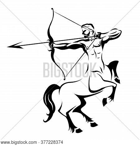 Centaur Silhouette Ancient Mythology For Tattoo On White Backgound