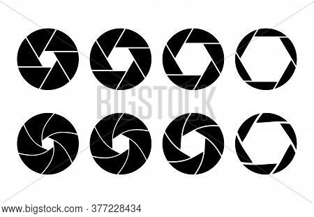 Camera Shutter Aperture Icon Set. Black Zoom Lens For Focus. Silhouette Photographic Shot Design Wit