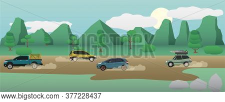 Transportation In Rural Areas With Cars Running On Dirt Roads. With A Large Mountain Background And