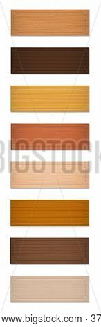 Name Badges, Wooden Name Plates, Blank Nameplates. Collection With Different Textures And Colors Fro