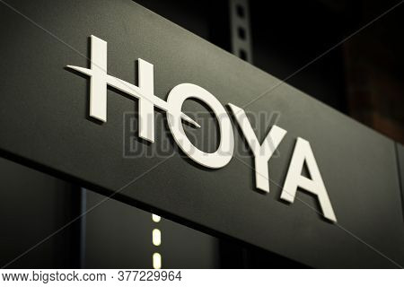 Krasnoyarsk, Russia, July 20, 2020: Hoya Logo On A Shop Window On A Black Background