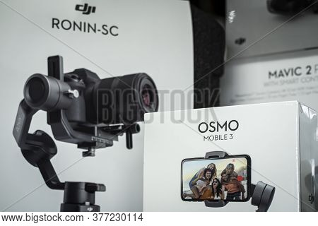 Krasnoyarsk, Russia, July 20, 2020: Osmo Mobile 3 And Other Dji Products In Packaging On The Store W