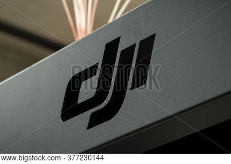 Krasnoyarsk, Russia, July 20, 2020: Dji Logo Is A Company That Produces Drones, Quadrocopters And St