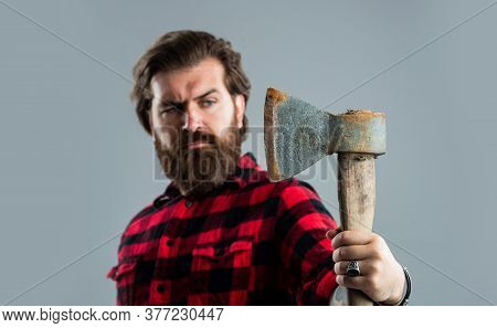 Woodcutter Use Ax. Selective Focus. Bearded Man With Axe. Cut Hair With Ax. Male Hairdresser Or Barb
