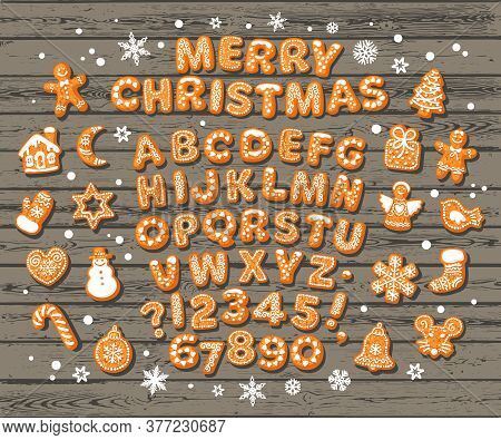 Christmas And New Year Gingerbread Alphabet, Cute Traditional Holiday Cookies, Snowflakes