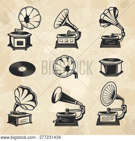 Gramophones Collection. Vintage Radio Music Symbols Vinyl Records Vector Pictures Set. Illustration