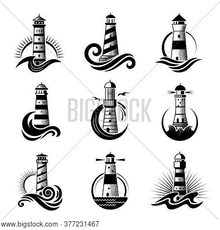 Lighthouse Logo. Business Stylized Marine Symbols Oceanic Waves Sea Icons With Silhouettes Of Lighth