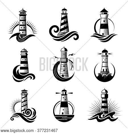 Lighthouse Logo. Business Stylized Marine Symbols Oceanic Waves Sea Icons With Silhouettes Of Lighth