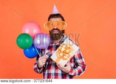 Prepare For Anniversary. Event Manager With Gift Box. Brutal Male On Party. Funny Man In Birthday Ha