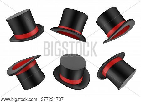 Magic Hat. Clothes For Magician Or Gentleman Vector Realistic Top Hat. Magic Hat, Clothing Object To
