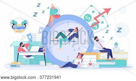 Employee Sleeping At Workplace. Overworked Man Woman Worker Falling Asleep On Alarm Clock, Office De