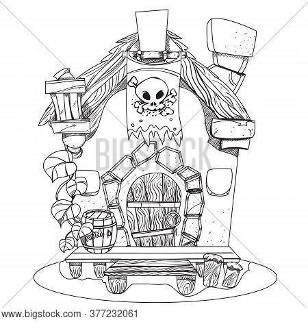 Witches Hut. Cartoon Illustration Of A House Sorceress. Drawing For Gaming Mobile Applications. Illu