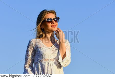 Carefree Girl. Pretty Woman Fashionable Sunglasses Outdoors. Girl White Dress Feel Free. Leisure And