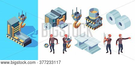 Metallurgy Factory. Iron Manufacturing Heavy Steel Foundry Production Vector Isometric Illustration.