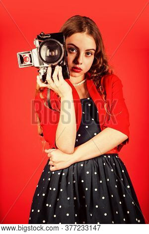 Professional Camera. Girl With Retro Camera. Capture Moments. Slr Camera. Learn Use Presets. Courses