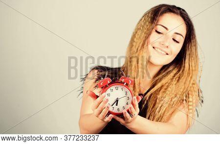 Please Observe Time. Girl Hold Alarm Clock. Regime Early Awakening. Bell Is Ringing. Good Morning. W