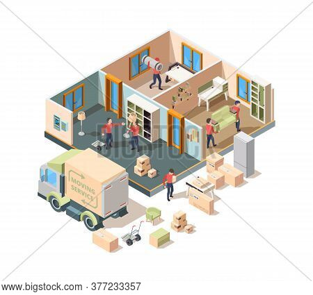 House Removal Service. Company Loader And Transporting Workers In New House Men Lifting Sofa And Box