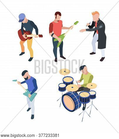 Rock Band. Isometric Musician People With Instruments Guitars Drum And Microphone Vector Rock Concer