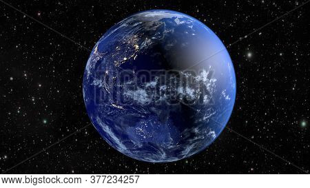 Planet Earth. The Radiance Of The Cities Of Australia, Asia, India And China. 3d Rendering.