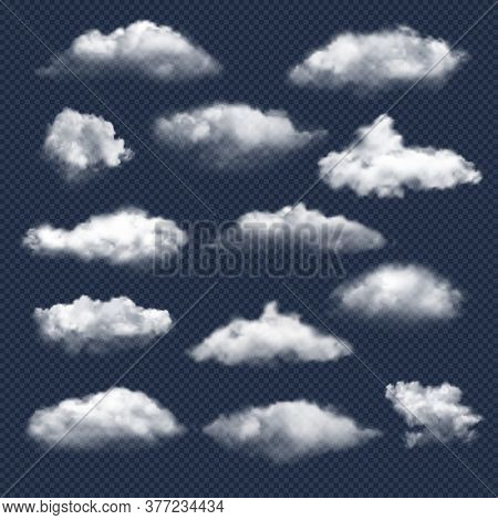 Clouds Realistic. Nature Sky Weather Symbols Rain Or Snow Cloud Vector Collection. Cloud And Sky, Cl