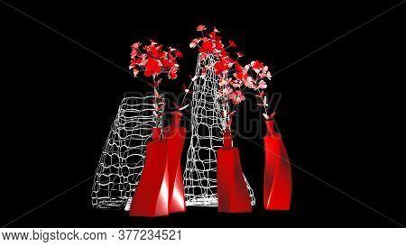 Vase Of Flowers On A Dark Background, Interior Design, 3d Rendering.