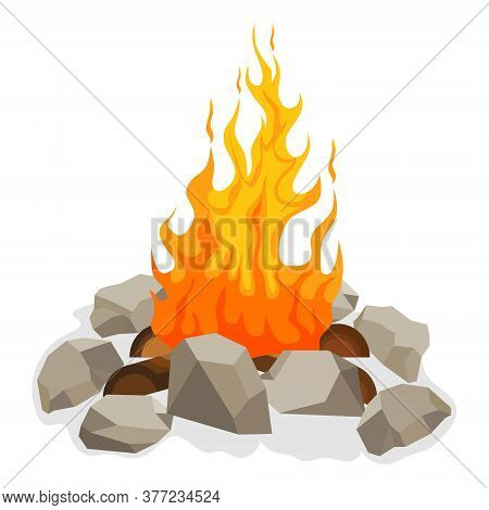 Bonfire, Bonfire Icon With Fire, Wood And Stones Around It. Vector Illustration. Vector.