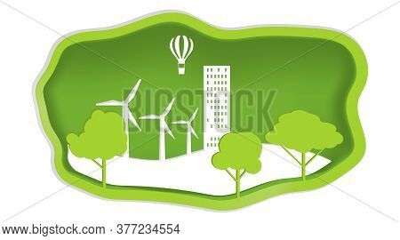 Nature And Ecology, Ecology Conservation Concept In Paper Design Style. Vector Illustration. Vector.