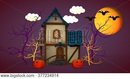 Halloween Holiday Concept. A Small House With Pumpkins And A Funny Ghost. 3d Rendering.