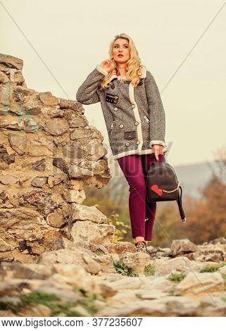 Just Relaxing. Girl Long Hair And Small Backpack. Woman In Tweed Wool Jacket. Wear Short Woolen Coat