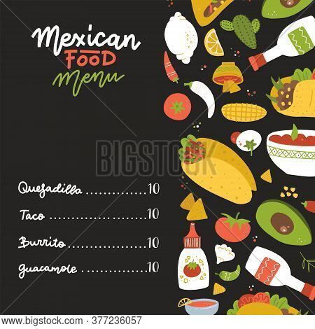 Mexican Food Menu On Black Backdrop Decorated With Set Of Freehand Elements - Burrito, Taco, Lemon,