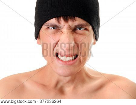 Angry Young Man Portrait Isolated On The White Background Closeup