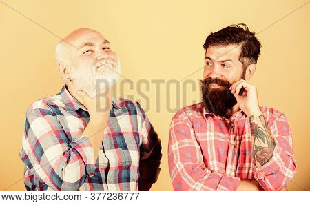 Confident And Handsome. Father And Son Family. Youth Vs Old Age Compare. Retirement. Barbershop And