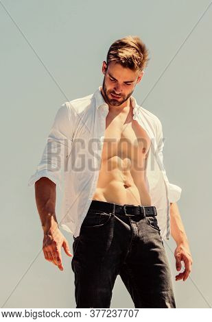 Perfect Male. Sexy Macho Man. Bearded Guy Casual Style. Handsome Man Fashion Model. Muscular Man Sex