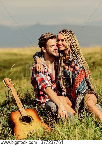 Enjoying Each Other. Family Hike. Boyfriend And Girlfriend With Guitar In Mountains. Summer Hike. Br