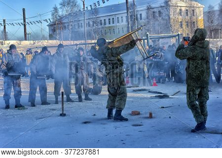 Demonstration Performance Of The Russian Army Landing Troops In Honor Of The Day Of The Defender Of