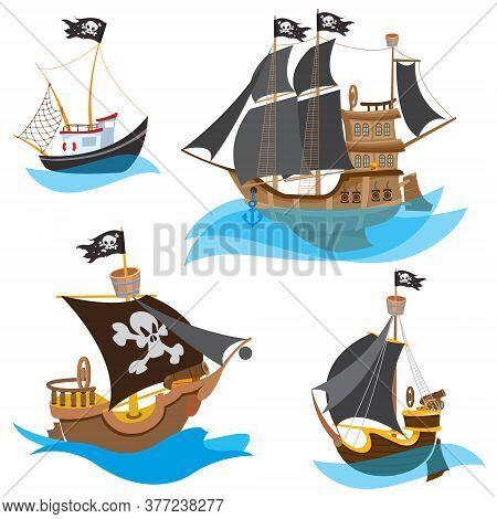 A Set Of Illustrations Depicting Various Types Of Ships. Pirate Frigate And Sailboats With Black Sai