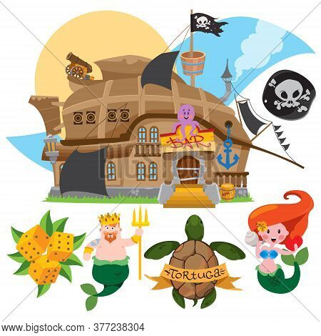 Illustration With The Image Of A Bar In The Form Of A Pirate Ship. Set Of Labels For Design Items Wi