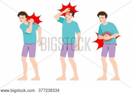 Set Of Man Feel Pain In Different Parts Of Body. People In Migraine Neck And Headache, Backache And