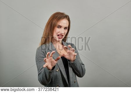 Claw Hands, Hand Gesture And Sign, Scary Desperate, Showing Claws, Nails, Making Silly Face. Young A